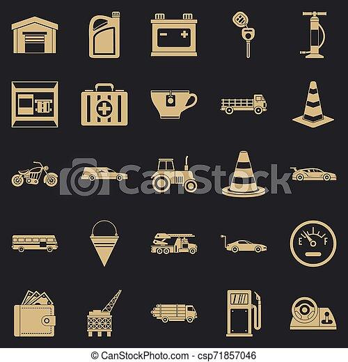 style, icônes, essence, ensemble, station, simple - csp71857046