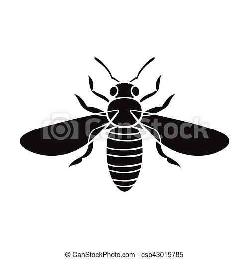 Style Illustration Insectes Symbole Isolé Abeille Arrière Plan Vecteur Noir Blanc Icône Stockage