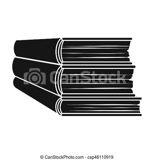 Style Illustration Symbole Isole Bitmap Arriere Plan Livres Noir Blanc Icone Pile Stockage