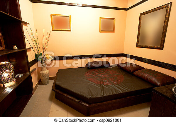 Style, japonaise, chambre à coucher. Style, hôtel, moderne ...