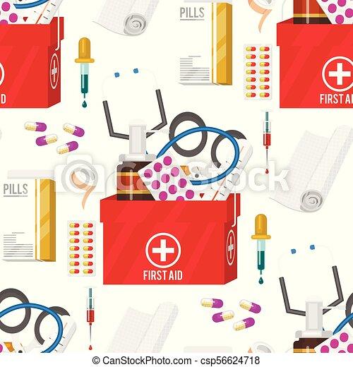 style, médicament, illustration., docteur, instruments, monde médical, seamless, dessin animé, vecteur, santé, traitement, modèle fond, médicament, outils, hôpital - csp56624718