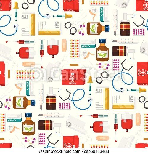 style, médicament, illustration., docteur, instruments, monde médical, seamless, dessin animé, vecteur, santé, traitement, modèle fond, médicament, outils, hôpital - csp59133483