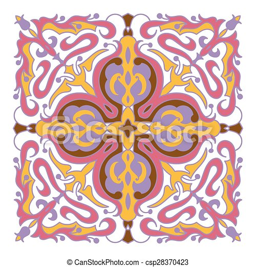 Style Majolica Couleur Main Zentangle Mandala Dessin Element