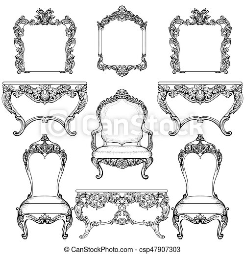 style meubles set francais victorien vecteur luxe clipart vectoriel rechercher. Black Bedroom Furniture Sets. Home Design Ideas