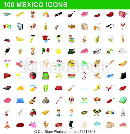 9373adb77a54 Style, mexique, ensemble, icônes, 100, dessin animé. Style, ensemble ...
