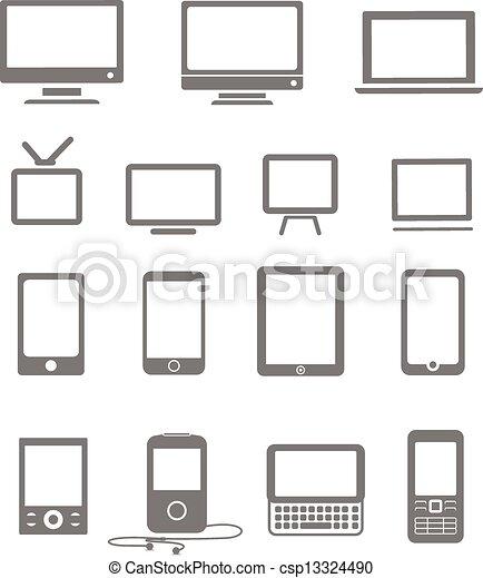 style, mobile, vendange, résumé, moderne, gadgets, moniteurs - csp13324490