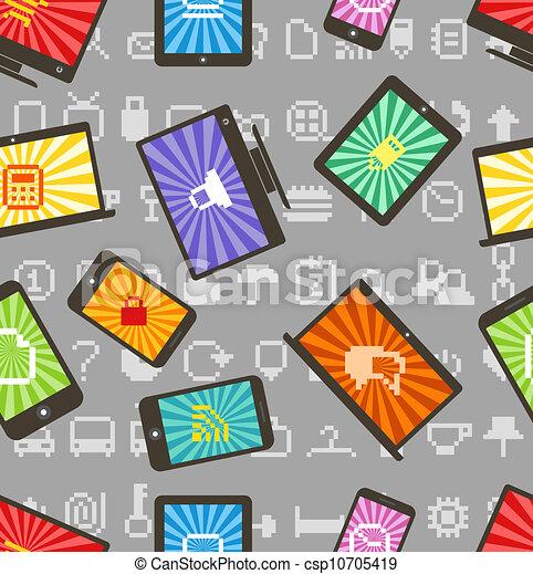 style, modèle, résumé, moderne, seamless, gadgets - csp10705419