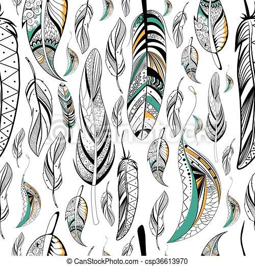 Style Modèle Tribal Seamless Boho Plume