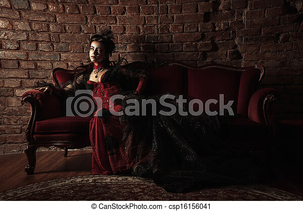 style, mode, gothique, portrait, modèle, girl - csp16156041
