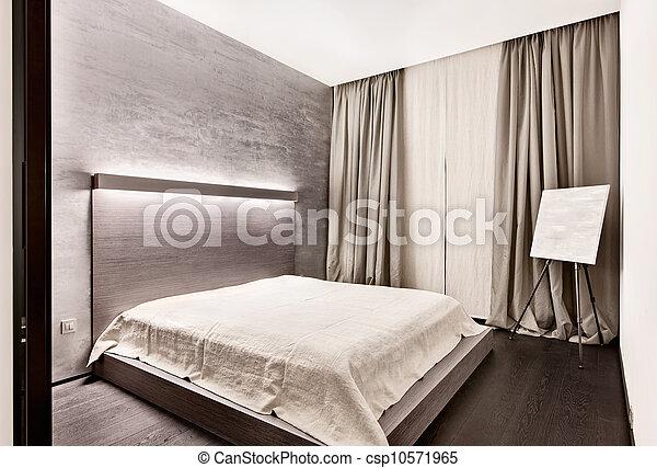 style, moderne, minimalisme, tonalités, chambre à coucher, intérieur,  monochrome