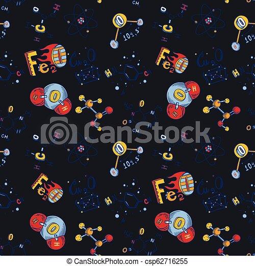 style, molécule, seamless, modèle, main, dessiné, chimie - csp62716255
