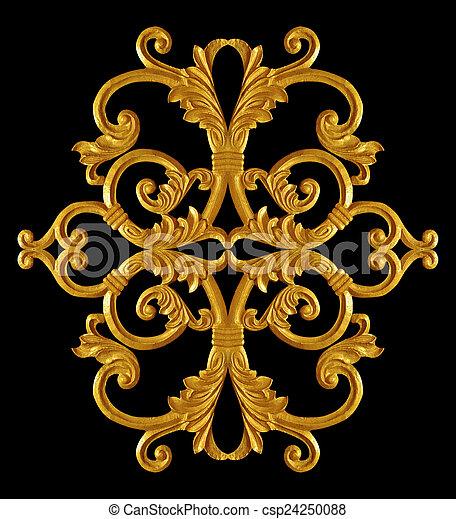 style, or, vendange, ornement, plaqué, floral - csp24250088