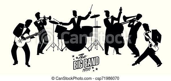 style, orchestra., 60, illustration., balançoire, 50, jazz, style., vecteur, retro, musiciens, dessin animé, ou - csp71986070