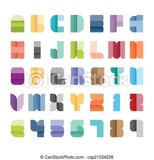 style., papel, alfabeto, jogo, cor, fonte, vetorial, illustration., tipo - csp21334208