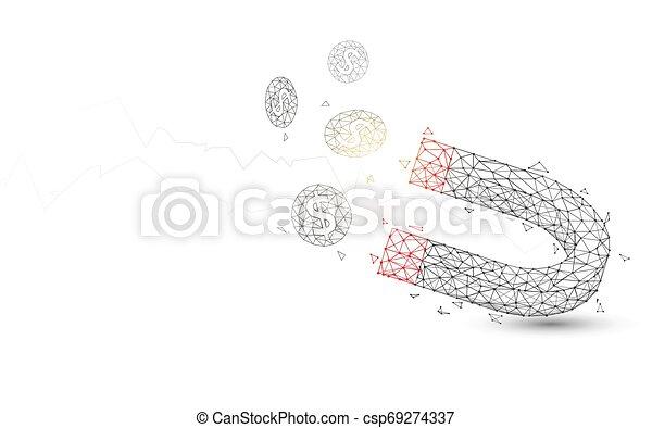 style, particule, pièces, illustration, aimant, lignes, vecteur, attirer, triangles, design. - csp69274337