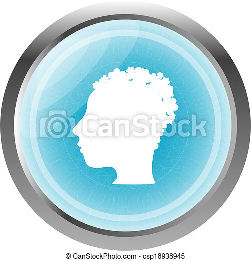 Style Person blue web button (icon) isolated on white - csp18938945