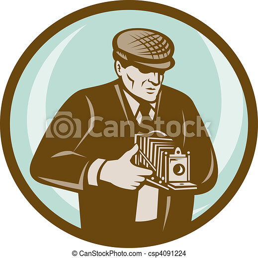 style, photographe, appareil photo, fait, retro, vendange, viser, chapeau - csp4091224
