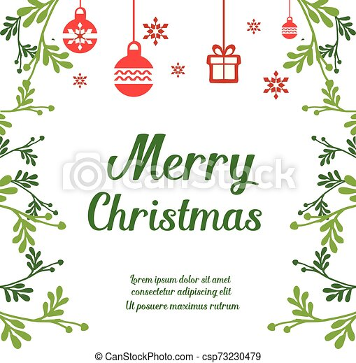 Style Retro Invitation Card Of Merry Christmas With Graphic Of Green Leafy Flower Frame Vector