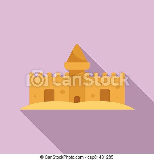 style, sable, icône, conte fées, plat, château - csp81431285