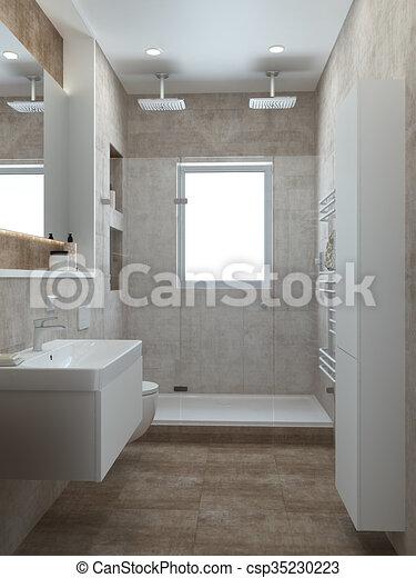 Style, salle bains, moderne, render, 3d. Pastel, salle bains, render ...