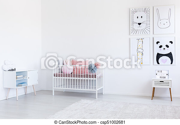 Style, scandinave, fille, chambre à coucher. Rose, fille, oreillers ...