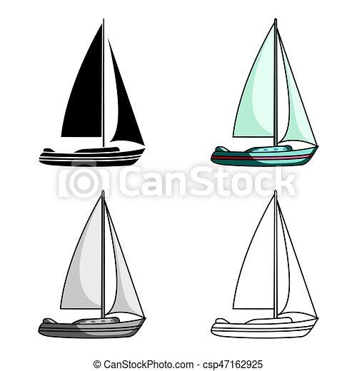 Style Stockage Eau Concourir Sailing Symbole Bateau Transport Bateau Icone Vecteur Dessin Anime Unique Canstock