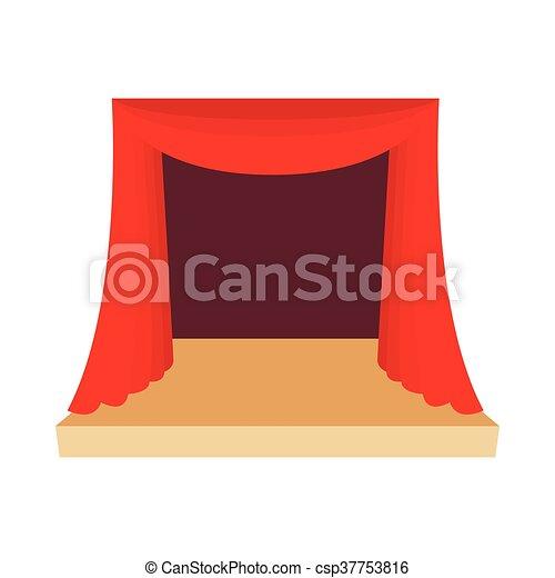 style, théâtre, rideau, icône, dessin animé, rouges, étape - csp37753816