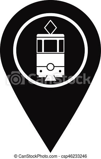 Style Tram Signe Simple étiquette Icône Geo