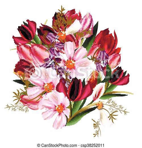 Style Tulips Eps Bouquet Illustration Réaliste Cosmos Fleurs Cloches