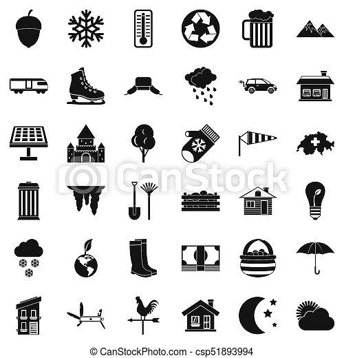 style, vie pays, ensemble, icônes simples - csp51893994