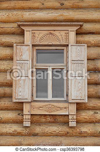 Style Vieux Cadre Fenêtre Bois Russe Style Coup Shutters