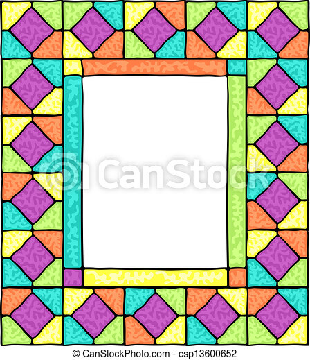 styled stained glass frame v ector illustration