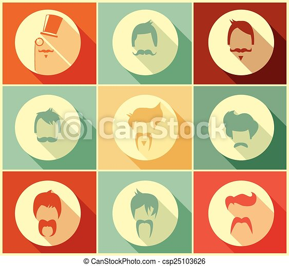 styles, collection, cheveux, vecteur, hipster, illustration, moustaches, retro - csp25103626