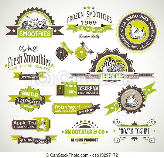 styles, différent, prime, espace, surgelé, thé, étiquettes, text., collection, fruits, yaourth, qualité, smoothies - csp13297172