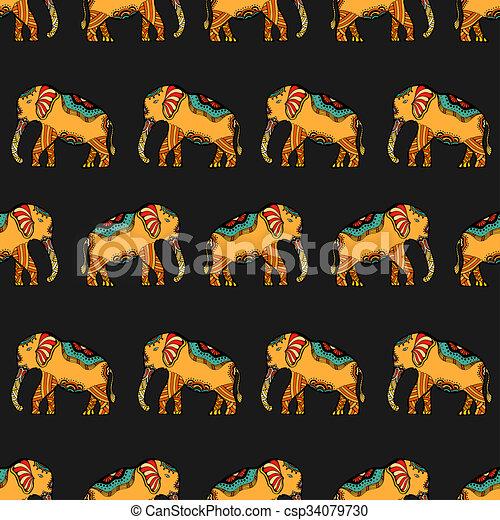 Stylis elephant indien art indien makhenda pattern isol illustration main stylis - Elephant indien dessin ...