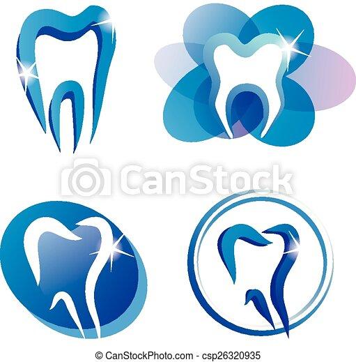 stylisé, ensemble, dent, icônes - csp26320935