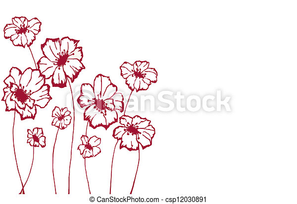 Stylise Fleurs Blanches Fond Rouge Fonce