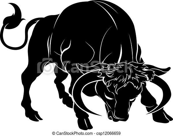 stylisé, illustration, taureau - csp12066659
