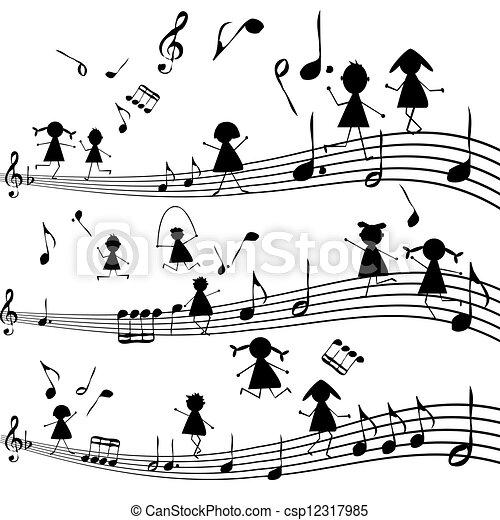 stylisé, note, silhouettes, gosses, musique - csp12317985