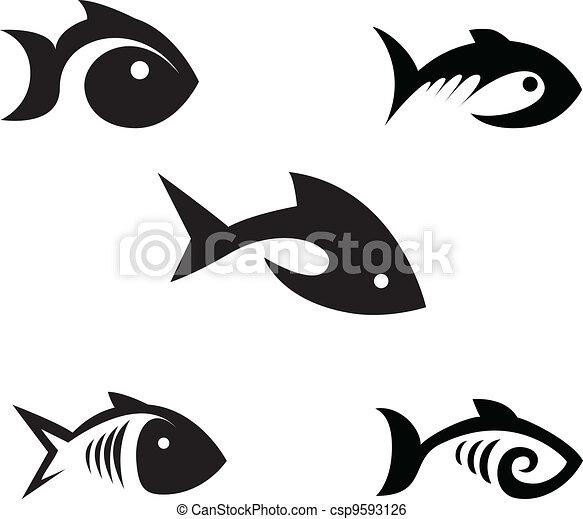 stylisé, poissons - csp9593126