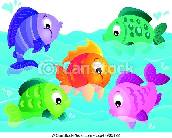 stylisé, poissons, thème, 5, image - csp47905122