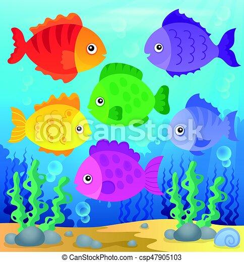stylisé, poissons, thème - csp47905103
