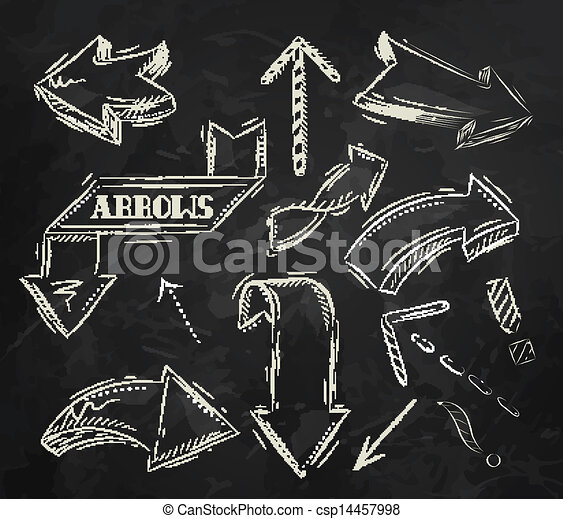 Dessin A La Craie stylisé, schéma craie, flèche. craie, tableau noir, stylisé, dessin