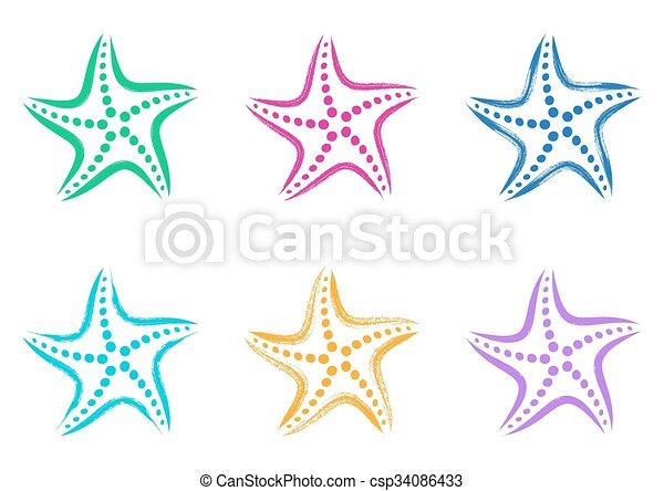 stylisé, vecteur, coloré, etoile mer, icônes - csp34086433