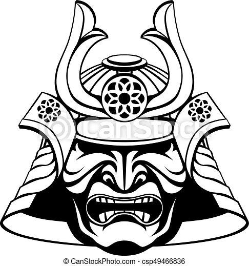 Stylised Samurai Mask An Illustration Of A Stylised Samurai Mask