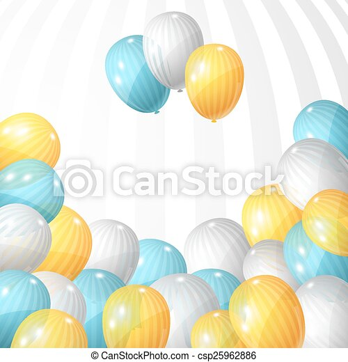 Stylish background with flying balloons. Vector eps 10 - csp25962886