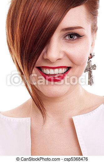 stylish beautiful woman portrait on white background - csp5368476