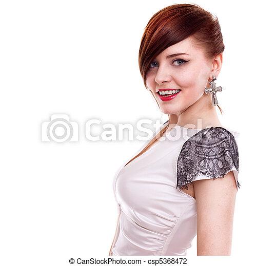 stylish beautiful woman portrait on white background - csp5368472