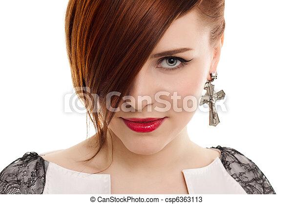 stylish beautiful woman portrait on white background - csp6363113