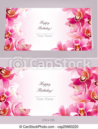 Stylish birthday horizontal card with orchid - csp20660220